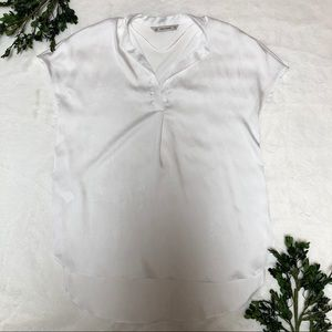 NWOT Zara Basic White Short Sleeve Silk Top Medium